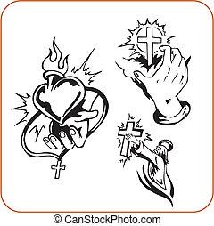 Christian symbols - vector illustration. - Christian...