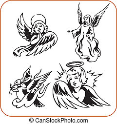 Angels - vector set. - Christian Religion - vector...