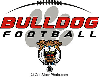 bulldog football design with mascot head