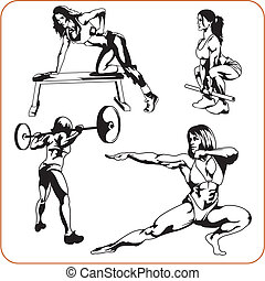 Woman engaged in fitness - vector illustration.