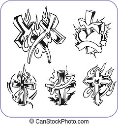 Christian symbols - vector illustration. - Christian...