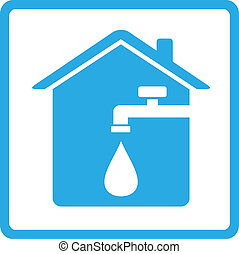 icon with home, spigot and drop of water - blue house icon...
