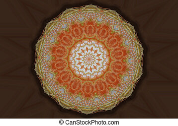 doily - orange and tan circular abstract on chocolate brown...