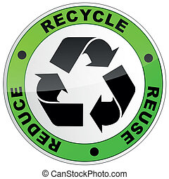 recycle round sign - vector illustration of recycle sign on...