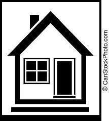 isolated home silhouette - black and white isolated icon...
