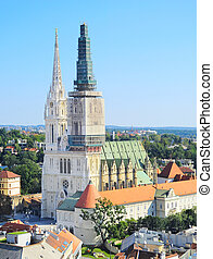 Zagreb Cathedral view - Aerial view on a Zagreb Cathedral in...