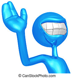 Smiling And Waving - 3D Concept And Presentation Figure