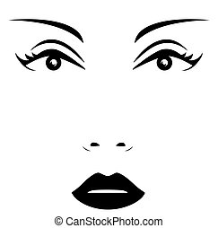 isolated woman face - icon with isolated woman face - beauty...