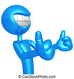 Smiling Two Thumbs Up - 3D Concept And Presentation Figure