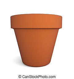 Flower pot. 3d illustration on white background