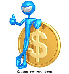 Smiling With Dollar Coin - 3D Concept And Presentation...