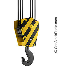 Crane hook 3d illustration on white background