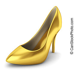 High heel shoe 3d illustration on white background