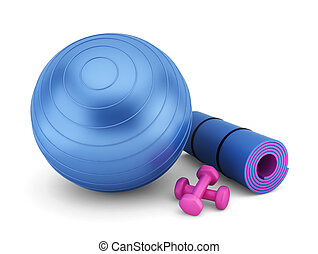 Fitness equipment 3d illustration on white background