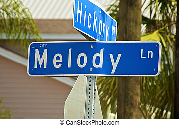street sign for Melody Lane