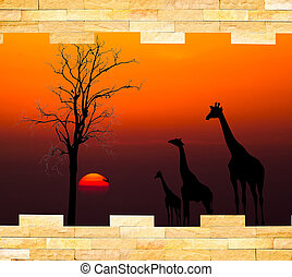 Brick wall with silhouettes of African safari theme behind