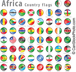 Vector African National Flag Button Set - Hi detail vector...