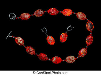 Jewelry made from red jasper - Necklace and earrings from...