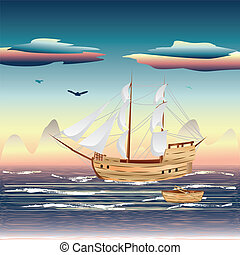 Sailing Ship on the Sea - Old sailing ship on the open ocean...