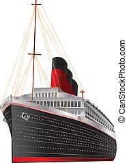Vintage Ocean Liner - Retro cruise liner illustration on...