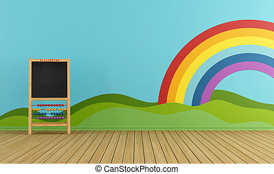 Playroom with blackboard, rainbow and green hills on the...