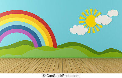 Empty Playroom with rainbow and green hills - Empty Playroom...