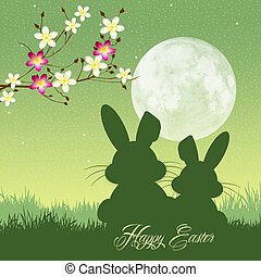 Easter bunny silhouette - illustration of Easter bunny...