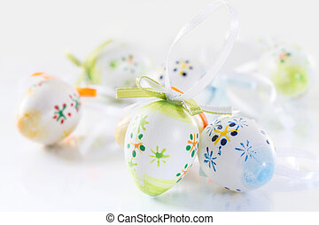 Easter background with colored eggs.