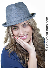 woman smiling blonde in hat