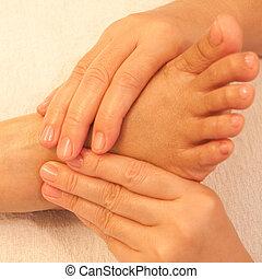 Reflexology, pie, masaje, balneario, pie, tratamiento,...