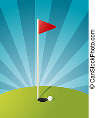 Golf course illustration - Golf illustration with hole flag...
