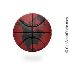 North American Basketball - Basketball with the map of North...