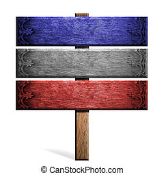 Old wooden sign isolated on white patterned thai.