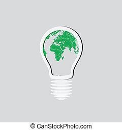 Light Bulb with Earth