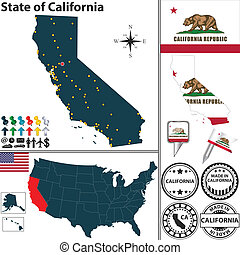 Map of state California, USA - Vector set of California...