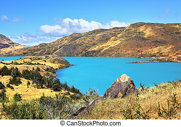 Azure water of Lake Pehoe - National Park Chile - Torres del...