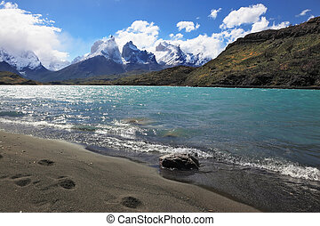 Sandy Beach Lake Pehoe in the national park Torres del...