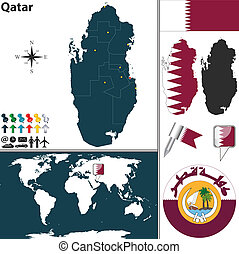 Map of Qatar - Vector map of Qatar with regions, coat of...