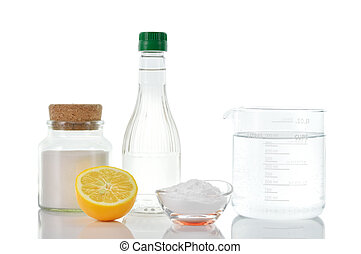 Natural cleaners. Vinegar baking soda salt lemon. -...