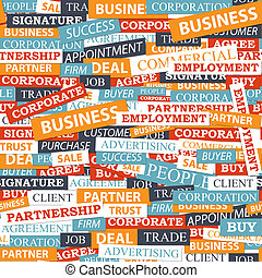 Seamless pattern, which is composed of words on business themes. Vector illustration.