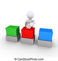 Person is voting among three choices - 3d person is...