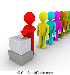 Many people in line take turn to vote - 3d people in a row...