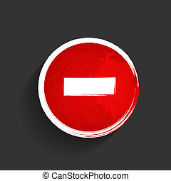 Old red stop road sign vector illustration