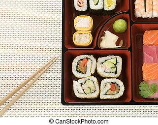 selección, Sushi, en, Bento, caja