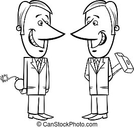 two false businessmen cartoon - Black and White Concept...