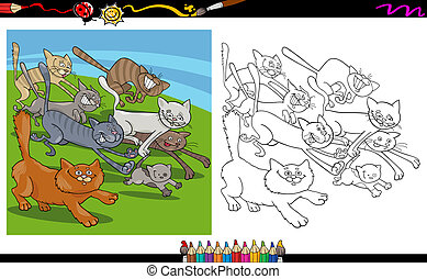 running cats cartoon coloring page