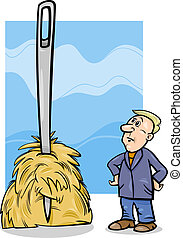 needle in a haystack saying cartoon - Cartoon Humor Concept...