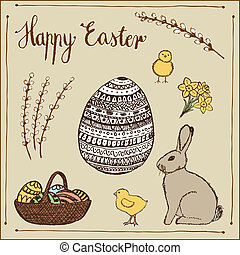 Ink hand-drawn vector Easter set.