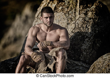 athletic young man outdoor - warrior