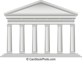 Tuscan Roman temple on white background